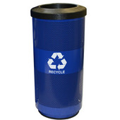 20 Gal. Recycle Unit with Flat Top Lid and Recycle Decal, Round Opening, Blue