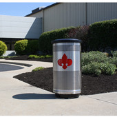- 35 Gal. Custom Logo Unit with Flat Top Lid, Plastic Liner, Deep Red