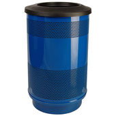 55 Gal. Custom Logo Unit with Flat Top Recycle Lid - 1 Hole and 1 Slot Opening, Plastic Liner, Blue Streak II