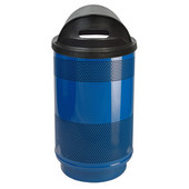 55 Gal. Custom Logo Unit with Hood Top Recycle Lid - 1 Hole and 1 Slot Opening, Plastic Liner, Blue Streak II