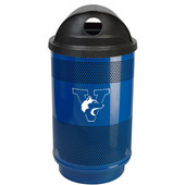 - 55 Gal. Cuslom Logo Unit with Hood Top Recycle Lid and 2 Hole Openings, Plastic Liner, Stainless Steel