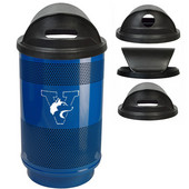 - 55 Gal. Custom Logo Unit with Hood Top Recycle Lid - 1 Hole and 1 Slot Opening, Plastic Liner, Stainless Steel