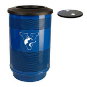 - 55 Gal. Custom Logo Unit with Flat Top Recycle Lid - 2 Hole Openings, Plastic Liner, Stainless Steel