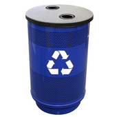 - 55 Gal. Recycle Unit with Standard Ad Openings, Recycle Flat Top with 2 Hole Openings, Plastic Liner, Safety Yellow