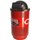 - 55 Gal. Custom Logo Unit with Standard Ad Openings, Dome Top Lid, Plastic Liner, Deep Red
