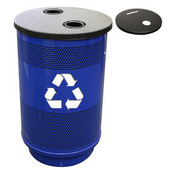 - 55 Gal. Recycle Unit with Standard Ad Openings and Recycle Flat Top with 1 Hole & 1 Slot Opening, Plastic Liner, Post Office Blue