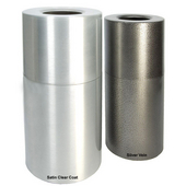 Aluminum Receptacle, Satin Clear Coat, with Plastic Liner, 24 Gallons, 15''Dia. x 30-1/2''H