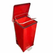 24 Gallon Indoor Square Step-On Receptacle In Red, 15-1/2''W x 15-1/2''D x 30-1/2''H