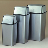 Push Top Receptacle Trash Can, Medium, 37'' H, 21 gal, Stainless Steel