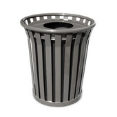 Receptacle with flat top lid and plastic liner, silver, 29-1/2''Dia x 29-1/2''H