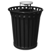 36 Gal. Can w/ Ash Urn Top, Black, 36 Gallons, 28-1/2''Dia. x 39-3/4''H