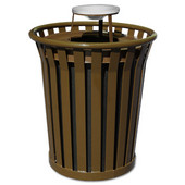 36 Gal. Can w/ Ash Urn Top, Brown, 36 Gallons, 28-1/2''Dia. X 39-3/4''H