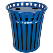 Wydman Slatted Metal Recycling Receptacle with Plastic Liner, Blue, 36 Gallons, 28-1/2''Dia. x 31-1/2''H