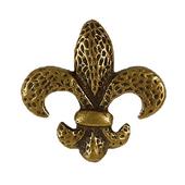 Fleur De Lis Knob, 2'' x 2'', Antique Brass