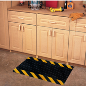 Diamond-Plate SpongeCote Beveled Mat, Black w/ Yellow Chevron Borders, 2'x3'
