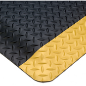 Smart Diamond Plate UltraSoft Anti-Fatigue Mat, 2' x 3' x 1'' Thick, Black w/ Yellow Borders