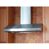 - Wall Mount Range Hood with Duct Cover, 42'' W, Stainless Steel